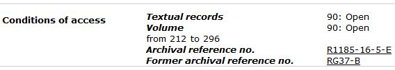 "A black-and-white three-column table of a record description in the Library and Archives Canada Archives Search database. On the left is the title ""Conditions of Access,"" in the middle is the volume number(s), and on the right is the access code ""90: Open""."