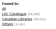 Image of the Library Search function displaying various locations and search result numbers