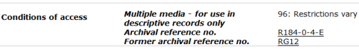 A sample record description in the Archives Search database displaying access code 96: RESTRICTIONS VARY.
