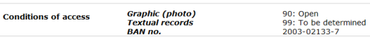 A sample record description in the Archives Search database displaying access code 99.