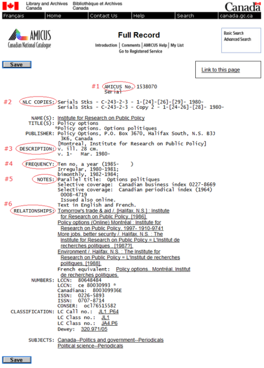 Screen capture of the AMICUS full record with corresponding fields (source: AN1538070)