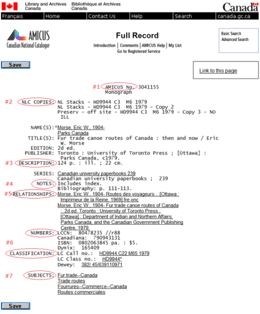 Screen capture of the AMICUS full record with corresponding fields (source: AN 3041155)