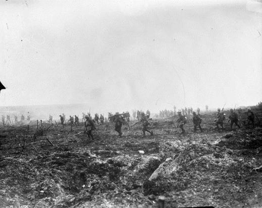 "29th Infantry Battalion advancing into ""No Man's Land"" through German barbed wire and heavy fire during the Battle of Vimy Ridge."