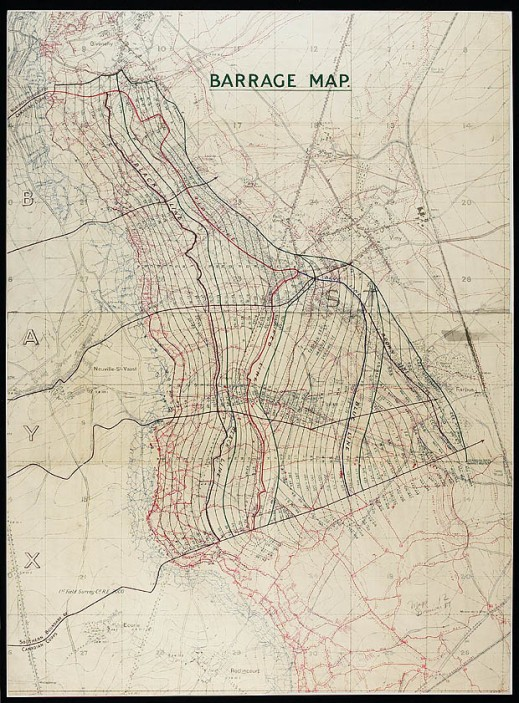 Barrage map [cartographic material]: [Vimy Ridge region, France]