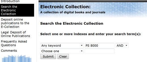 Figure 1: Search screen for Electronic Collection