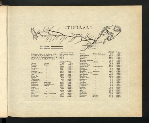 "Itinerary from ""Prince of Wales' tour of Canada, 1919, a volume of photographs published by the Canadian Pacific Railway."" The National Archives, UK. CO 1069-286-7."