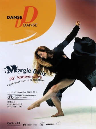 Dance performance advertisement featuring Margie Gillis.