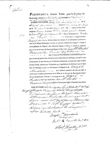 Certificate of enlistment of Joseph Auclair by Jean-Baptiste-René Hertel de Rouville, captain, Canadian Voltigeurs unit, drafted before the notary Charles Pratte, December 27, 1812, Bibliothèque et Archives nationales du Québec.