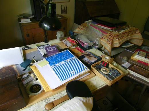 A photograph of P.K. Page's art table