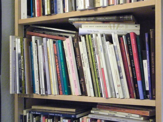 A photograph showing a selection of literary works on the bookcase in P.K. Page's office