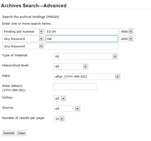 "Screen capture of an advanced Archives Search with the first drop-down menu showing ""Finding aid number"" and the value of ""15-24"" and the second drop-down menu showing ""Any Keyword and the value ""Riel."""