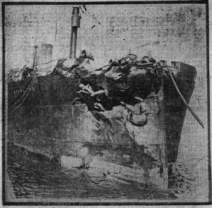 The Storstad, following the collision with the Empress of Ireland.