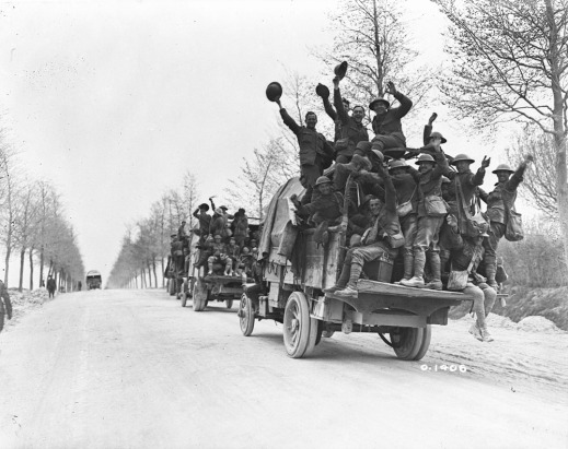 Canadian troops en route to destination for a rest period after taking part in the capture of Vimy Ridge (MIKAN 3521924)
