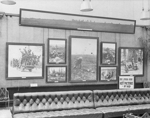 View from inside the Grafton Galleries, London, at the Second Exhibition of Canadian Battle Pictures, July 1917 (MIKAN 3394834)