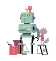 A picture of a mouse building a robot