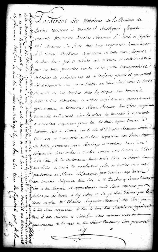 Sale made by Nicolas Réaume and Charles-Noël Réaume to their brother Alexis. Notary F. Le Guay, May 9, 1781. Library and Archives Canada, MG18, H-44, vol. 8, 4 pages.