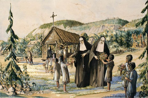 Earliest Ursuline sisters with Amerindian pupils at Quebec City