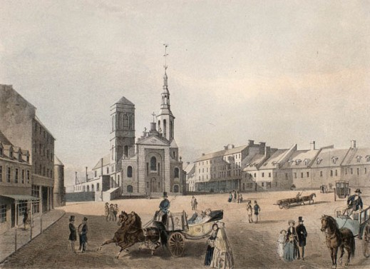 Notre-Dame Cathedral and Market Square, Quebec City, 1850