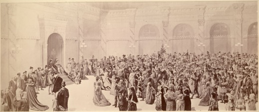 Composite image of the Dufferin Grand Fancy Ball at Rideau Hall on February 23, 1876. The image was created in the months following the event, and was probably finished in May or June.