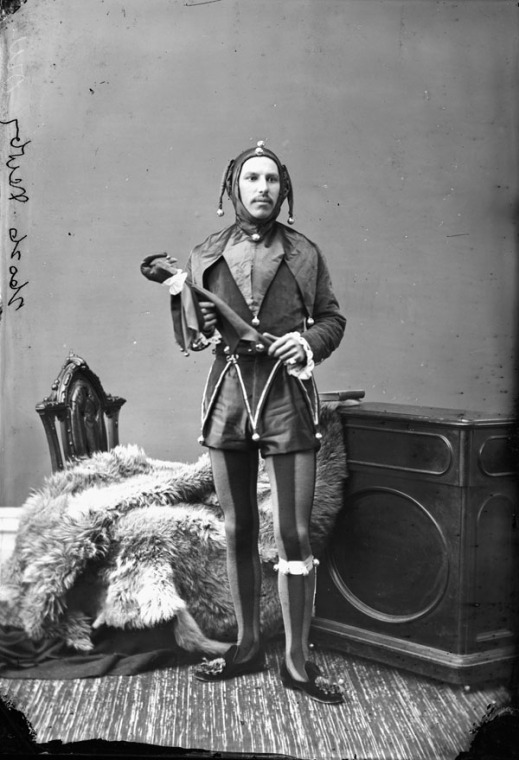 "Mr. Newby dressed as a ""Court Jester."" He wore this same costume again for a skating carnival that took place in 1881."