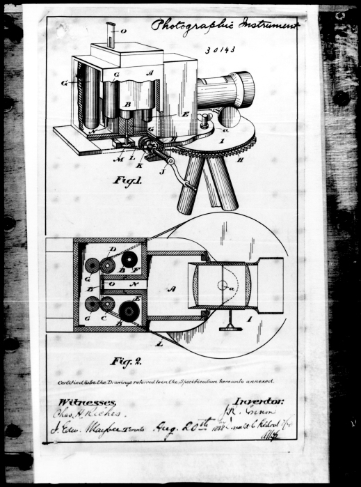 Page from John Connon's patent application for panoramic camera, 1888