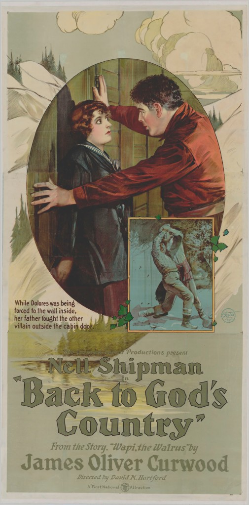 Film poster for Back to God's Country (1919), the earliest surviving Canadian feature film