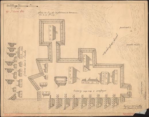 Anonymous. Plan de l'enclose de Plaisance en Terre-Neuve [dessin d'architecture] : fait le 15 [septem]bre, 1690.