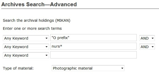 "Searching for nursing-related photographs in the ""O"" prefix series in Advanced Archives Search."