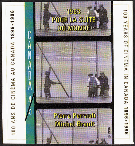 Stamp commemorating 100 years of cinema in Canada with a still image from Pour la suite du Monde