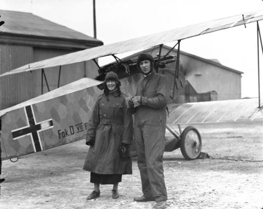 Major W. G. Barker, VC, with captured Fokker D.VII aircraft at Hounslow Aerodrome, April 1919