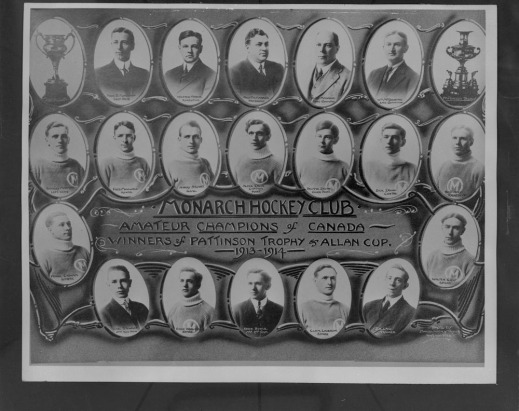 Black and white composite photograph showing portraits of the entire team in little medallions with the inscription Monarch Hockey Club, Amateur Champions of Canada, Winners of Pattison Trophy's Allan Cup 1913-1914,