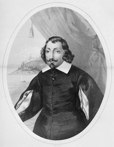 Lithograph attributed to Louis-César-Joseph Ducornet, 1854. It shows an image of a man facing slightly away from the viewer. He wears a black doublet with sleeves that reveal a white shirt underneath. In the background is a view of Quebec City.