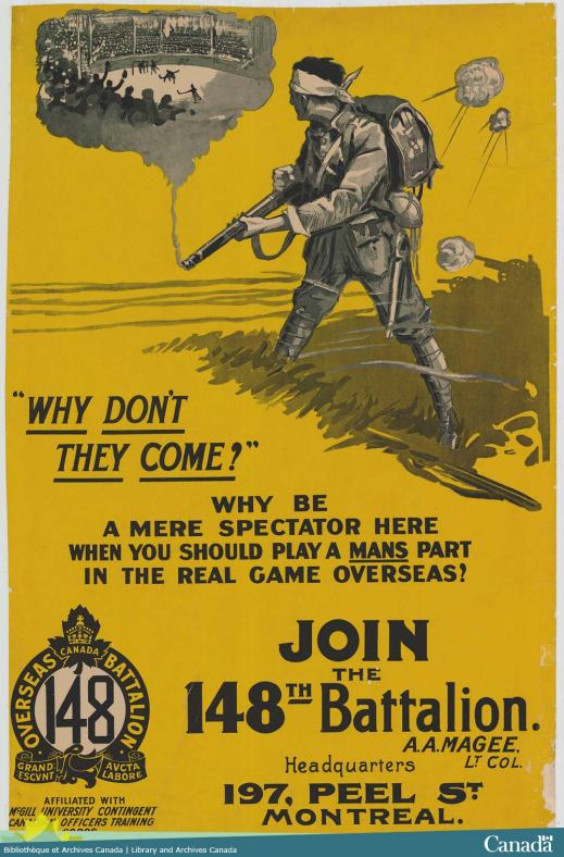 War poster depicting a soldier holding a rifle from which billowing smoke transforms into an illustration of an arena filled with fans watching hockey players on the ice; the soldier is looking at the representation.