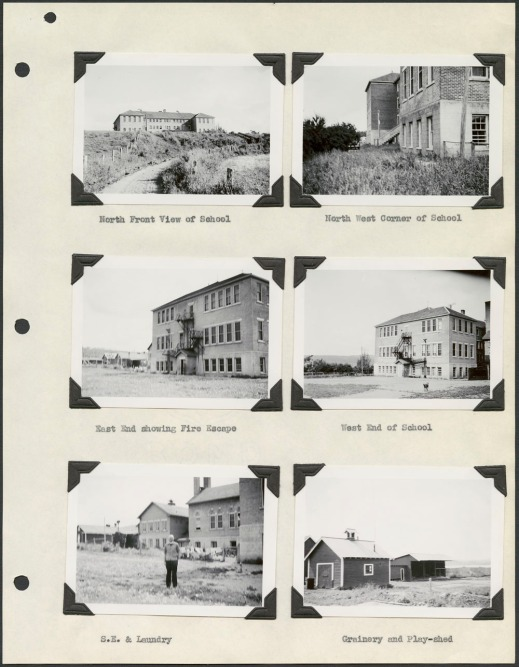 Cream-coloured page with six black and white photographs depicting views of various buildings