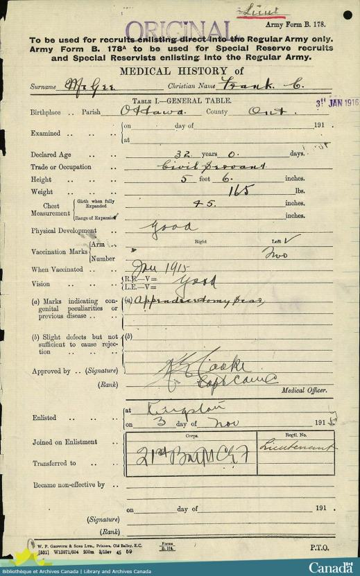 Digitized image of a form displaying medical information with fields in black print and handwritten answers in black ink.