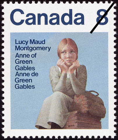 Stamp showing an illustration of a young girl with red hair sitting on a box with a leather satchel beside her. She appears to be thinking or waiting for somebody.