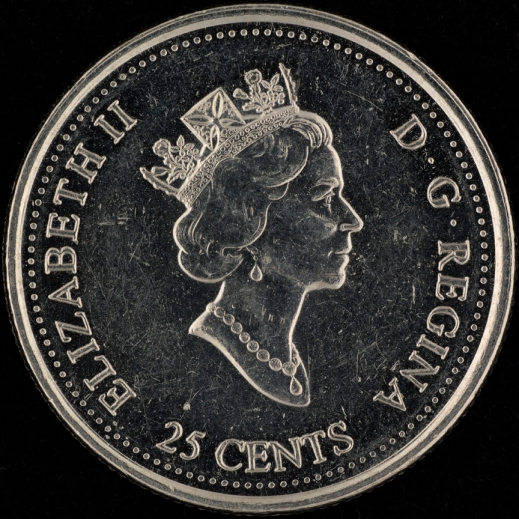 Photograph of the face of a Canadian quarter showing the profile of Queen Elizabeth II.