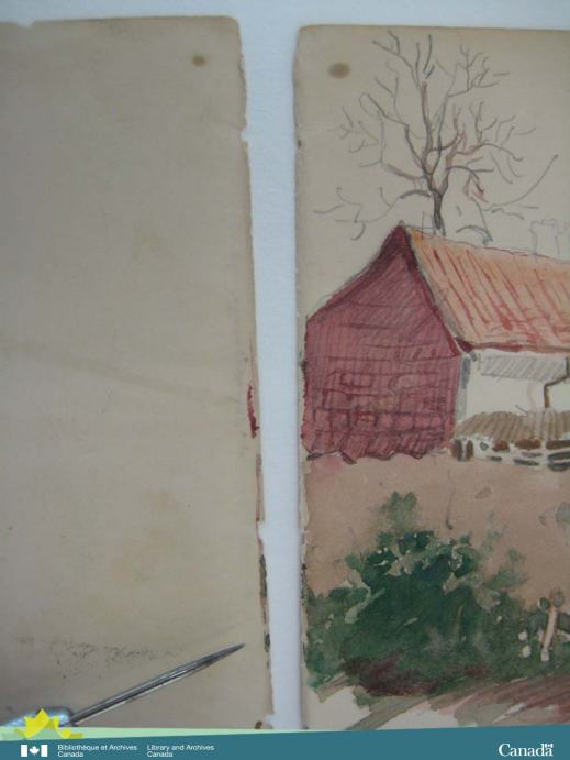 Colour photograph of two pages; the left hand page shows where there's a thin line of the watercolour on the far right edge that is the continuation of the image.