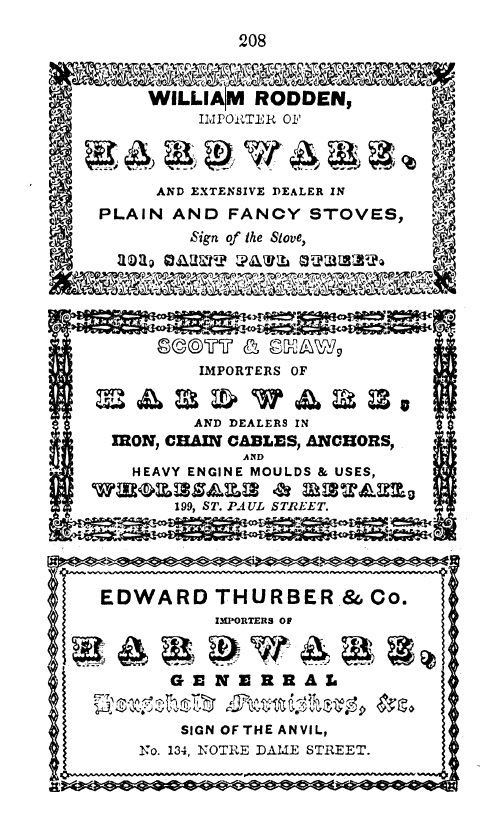 Black and white illustration of a page from the directory featuring three business card ads for hardware.