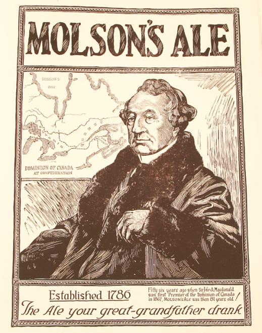 "Print of a Molson's ale ad featuring Sir John A. Macdonald seated and looking off to the side. Behind him is a map of the Dominion of Canada and underneath the image the text reads, ""Fifty-six years ago when Sir John A. Macdonald was first Premier of the Dominion of Canada in 1867, Molson's ale was then 81 years old! The ale your great-grandfather drank."""