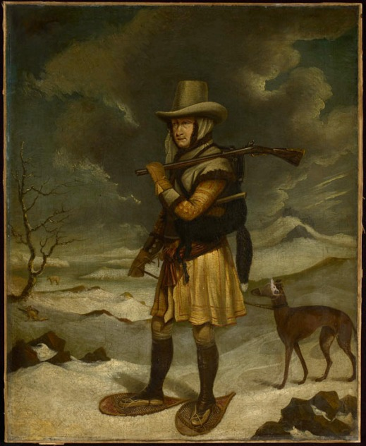 Oil painting showing Captain George Cartwright checking his fox traps during the winter in Labrador. He wears snowshoes, carries a gun over one shoulder and has a dog on a leash, tethered to his belt.