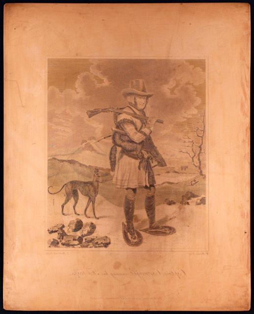 Copper plate image showing Captain George Cartwright checking his fox traps during the winter in Labrador. He wears snowshoes, carries a gun over one shoulder and has a dog on a leash, tethered to his belt.