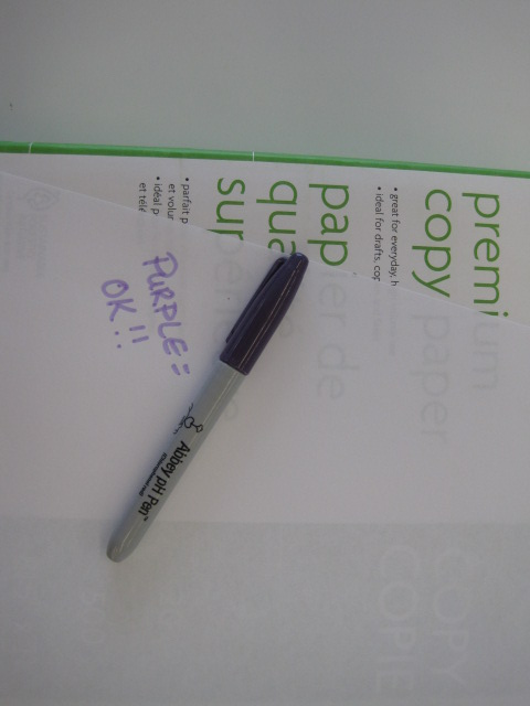 "Colour photograph of piece of paper with the words: ""Purple = Ok!!"" on it. This means that the paper is acid-free."