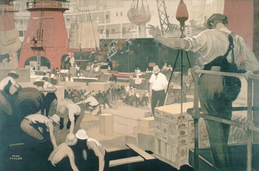 Colour print showing ship workers unloading cargo, using nets and skids, on a very crowded dock with a ship in the background.