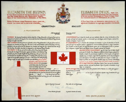 Colour reproduction of the proclamation of the Canadian flag. It describes the proportions of the flag and states the dates when the flag will come into effect.