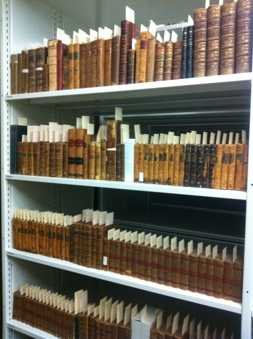 Colour photograph showing rows of books on a shelf. All the books are flagged with a slip of paper with a call number on it.