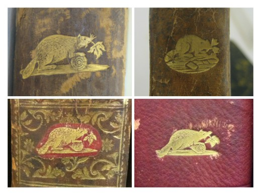Colour photograph collage of four beaver-stamp images showing the different stamp styles on the books.