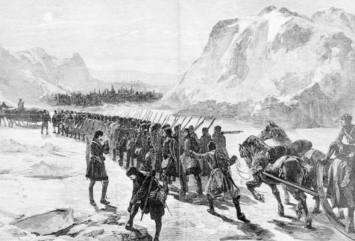 A black-and-white print taken from The Illustrated London News, 1885. The sketch shows a column of soldiers marching through a winter landscape.