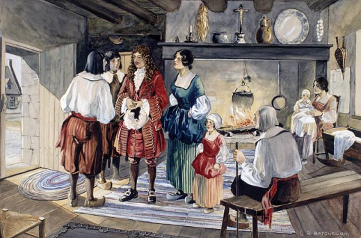 A watercolour of a domestic scene. A group of people are standing around a central character (Jean Talon). In the background we see a fireplace where a kettle is heating over an open fire, and a woman with a baby is seated next to it. An old man is sitting on a bench in the foreground.