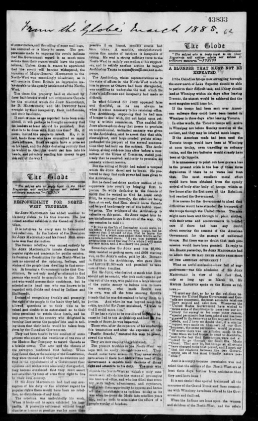 A black-and-white reproduction of a newspaper clipping from The Globe of Toronto in 1885. It is an article about the North-West Rebellion.